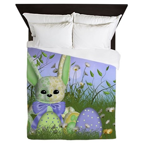 Easter Bedding With Cute Easter Bunny Queen Duvet By