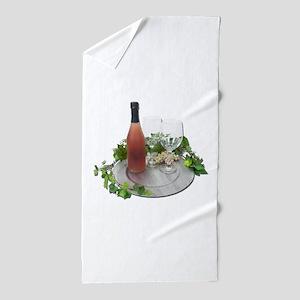 WineBottleGlassesSilverCharger010212.p Beach Towel