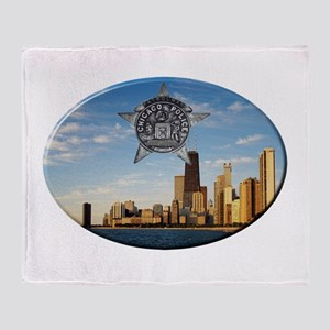 Chicago Police Skyline Throw Blanket