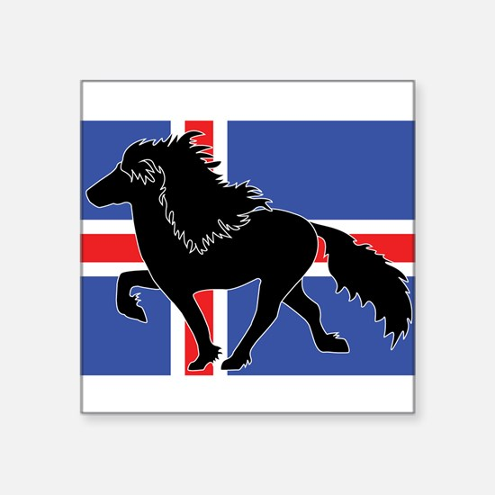 Black Icelandic horse with flag square Sticker