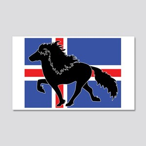Black Icelandic horse with Iceland flag Wall Decal