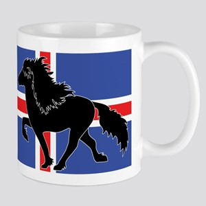 Black Icelandic horse with Iceland flag Mug