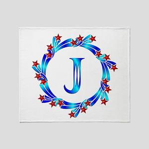 Blue Letter J Monogram Throw Blanket