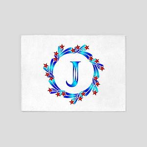 Blue Letter J Monogram 5'x7'Area Rug