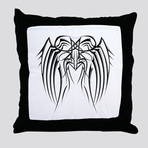 Black Iron Wings Throw Pillow