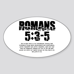Romans 5:3-5 Oval Sticker