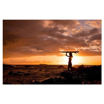 Hawaii, Maui, Makena, Silhouette Of Surfer Girl At Poster