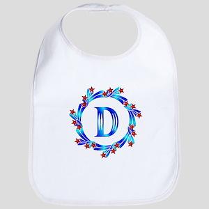 Blue Letter D Monogram Bib