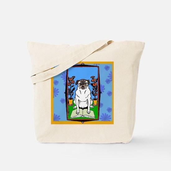 Colorful Pug Reading a Book Tote Bag