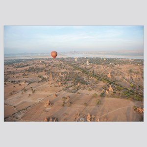 Hot air balloon flying over stupas, Ayeyarwady Riv