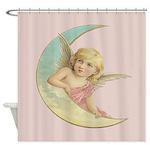Vintage Victorian Angel Moon Shower Curtain