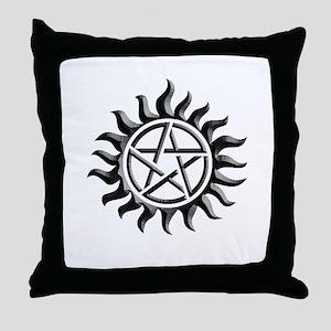 Black iron supernatural pentagram Throw Pillow