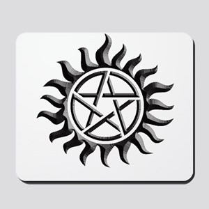 Black iron supernatural pentagram Mousepad