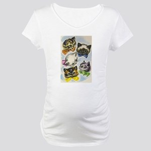 Vintage Kittens in Bow Ties Maternity T-Shirt