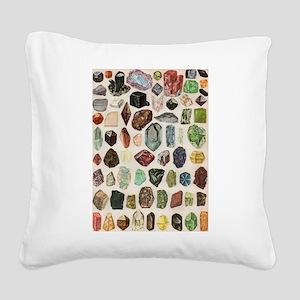 Vintage Geology Rocks Gemstones Square Canvas Pill
