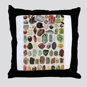 Vintage Geology Rocks Gemstones Throw Pillow