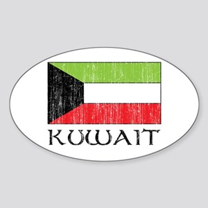 Kuwait Flag Oval Sticker