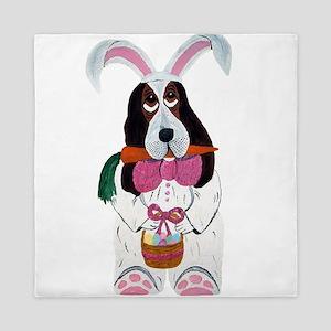 Basset Hound Easter Bunny Queen Duvet