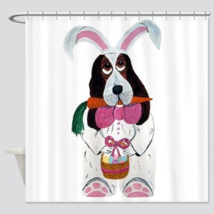 Basset Hound Easter Bunny Shower Curtain