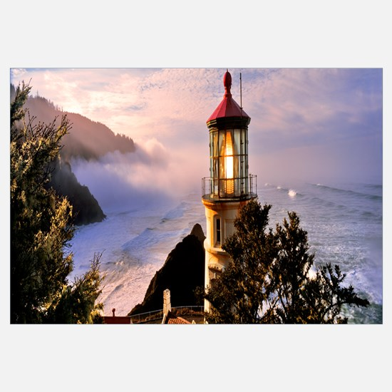 Lighthouse at a coast, Heceta Head Lighthouse, Hec