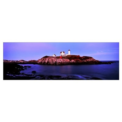 Lighthouse at a coast, Nubble Lighthouse, Cape Ned Poster