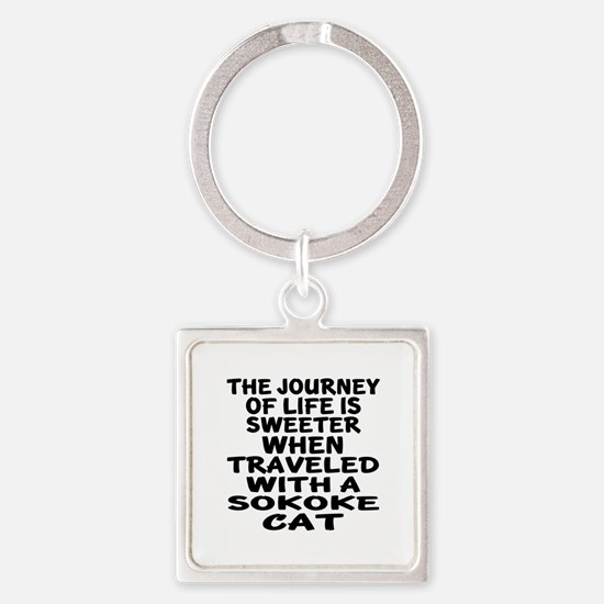 Traveled With sokoke Cat Square Keychain