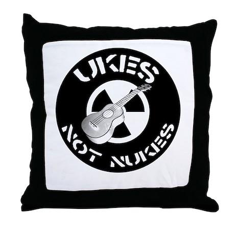 Ukes Not Nukes Throw Pillow