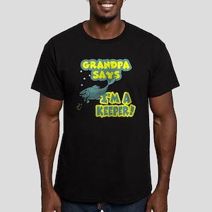 grandpa says Men's Fitted T-Shirt (dark)