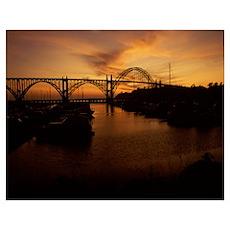 Arch bridge across a bay, Yaquina Bay Bridge, Yaqu Poster