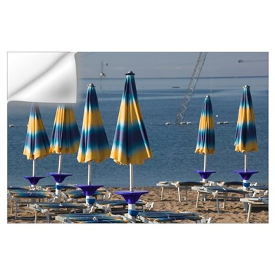 Beach umbrellas on the beach, Becici Beach, Becici Wall Decal
