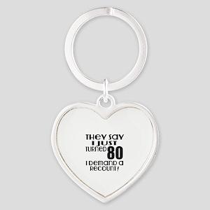 I Just Turned 80 Birthday Heart Keychain