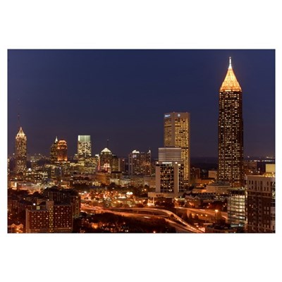 Buildings lit up at night in a city, Atlanta, Geor Framed Print