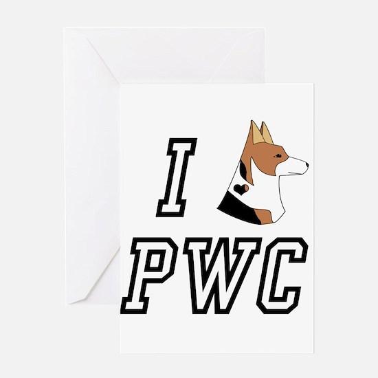 I Corgi tri head PWC Greeting Card