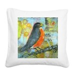Red Robin Bird Square Canvas Pillow
