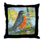 Red Robin Bird Throw Pillow