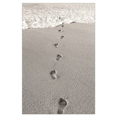 Hawaii, Oahu, North Shore, Footprints In The Sand Poster