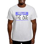 I am The One Hello Sticker Ash Grey T-Shirt