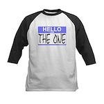 I am The One Hello Sticker Kids Baseball Jersey