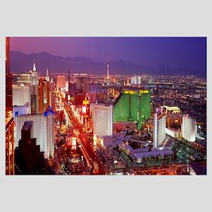 Buildings lit up at dusk in a city, Las Vegas, Cla