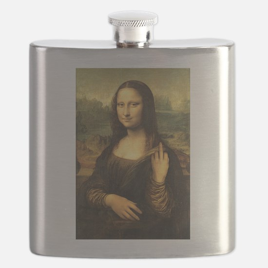 Mona Lisa Flip Off Flask