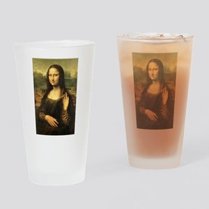 Mona Lisa Flip Off Drinking Glass