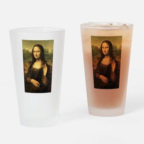 Mona Lisa Flip Off Drinking Glass