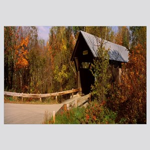 Covered bridge in a forest, Gold Brook Covered Bri