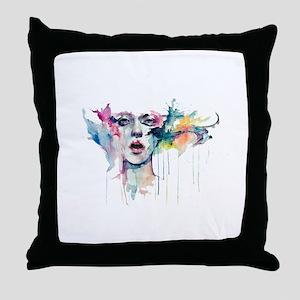 Girl aquarel Throw Pillow