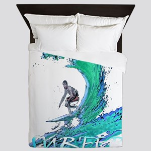 surfer art illustration Queen Duvet