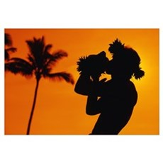 Hawaii, Maui, Napili, Silhouette Of Man Blowing Co Poster