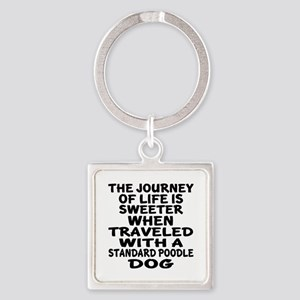 Traveled With Standard Poodle Dog Square Keychain