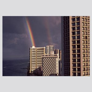 Rainbow over buildings, Honolulu, Oahu, Hawaii