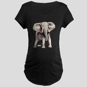 Elephant Animal Maternity Dark T-Shirt