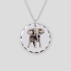 Elephant Animal Necklace Circle Charm
